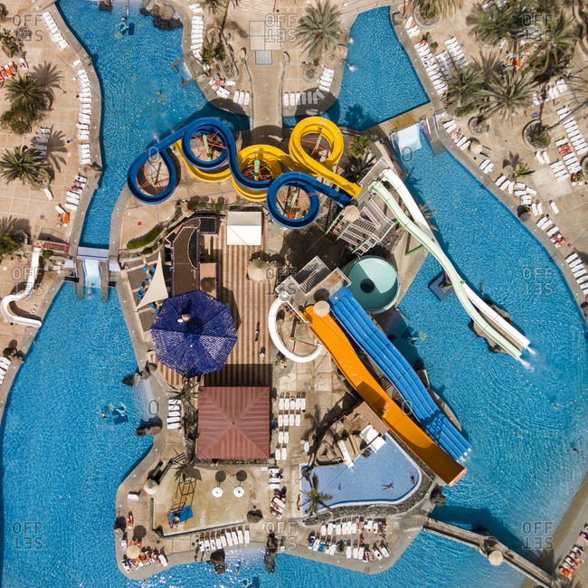 Gran Canaria, Spain - January 1, 2014: Aerial view of waterslides at a resort swimming pool
