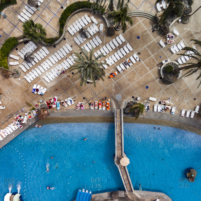 Gran Canaria, Spain - January 1, 2014: Aerial view of a swimming pool at a luxury resort