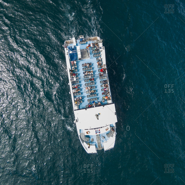 Gran Canaria, Spain - January 1, 2014: Aerial view of a ferry excursion in the sea