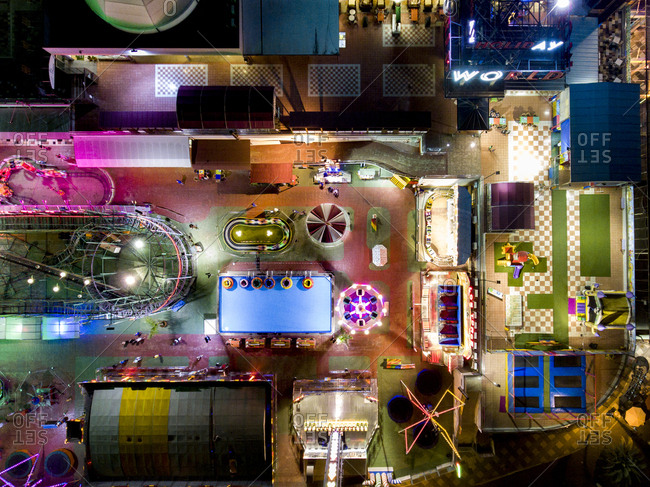 Gran Canaria, Spain - November 7, 2016: Aerial view of an amusement park lit at night