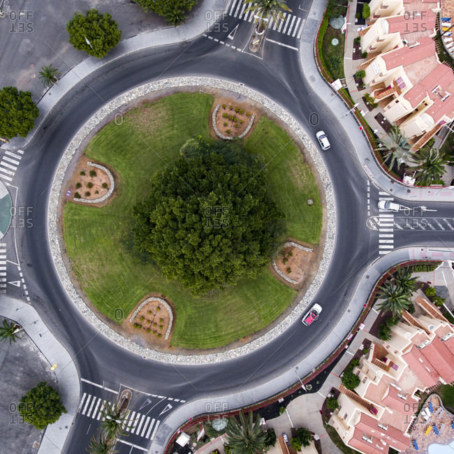 Maspalomas, Spain - November 21, 2016: Aerial view of a traffic circle with green space in the center