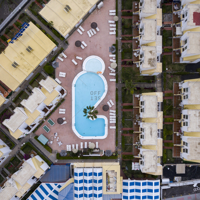 Maspalomas, Spain - November 21, 2016: Aerial view of a swimming pool at a resort