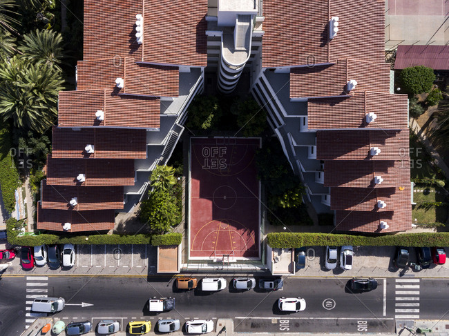 Maspalomas, Spain - October 20, 2016: Aerial view of a building with stepped roofs