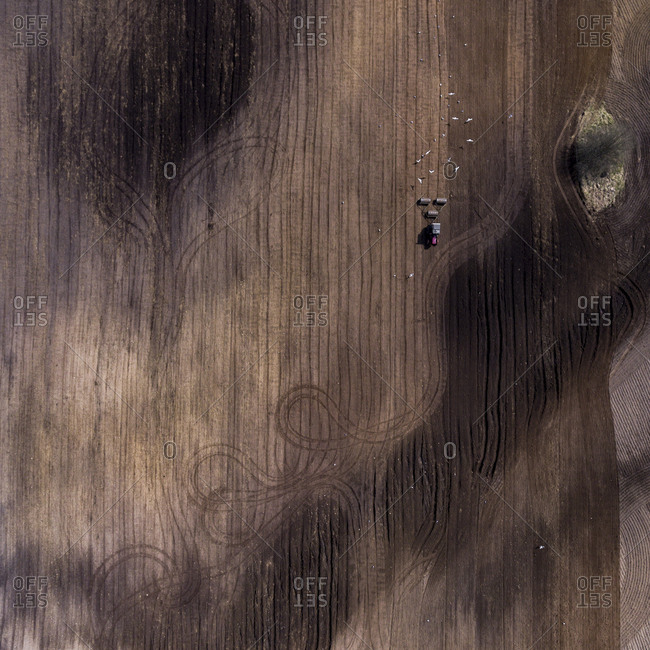 Aerial view of a tractor making lines in a vast field of brown earth