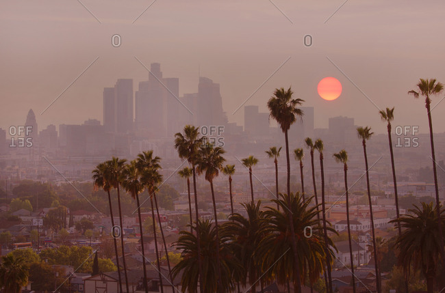 Los Angeles, California - April 4, 2017: Sunset over the city