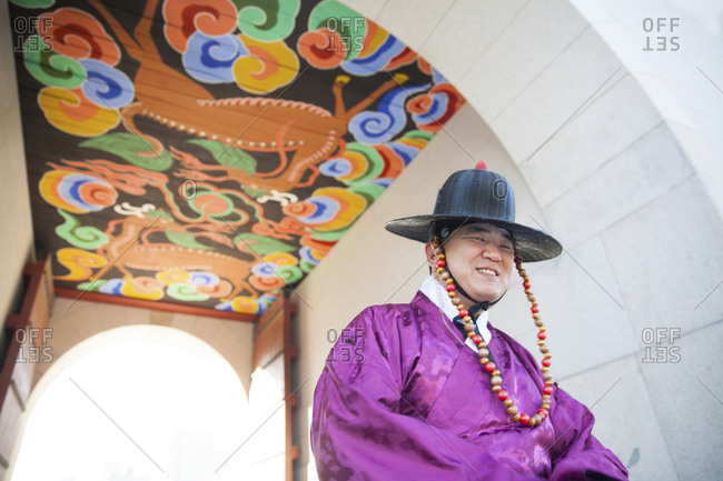 Seoul, South Korea - December 4, 2015: Gyeongbokgung Palace, changing of the guard