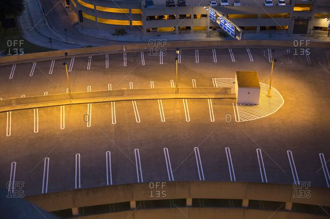 Dallas international airport, parking garage at night