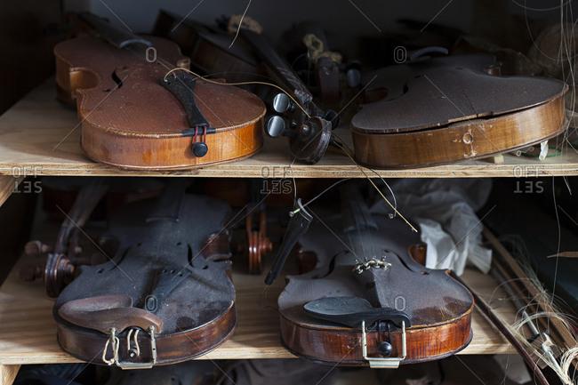 Several dusty violins on shelves