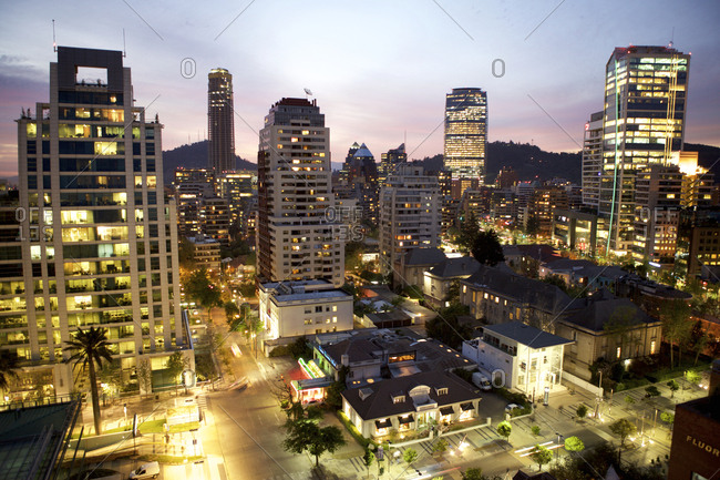 Santiago, Chile - September 26, 2011: City buildings at night