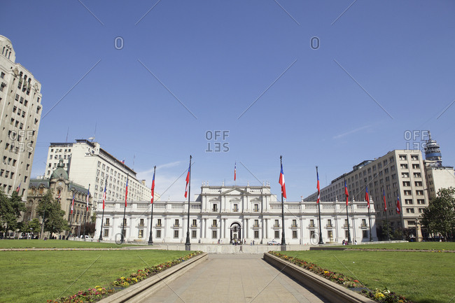 Santiago, Chile - September 24, 2011: La Moneda Palace exterior
