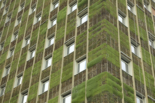 Corner of a building with grass on facade