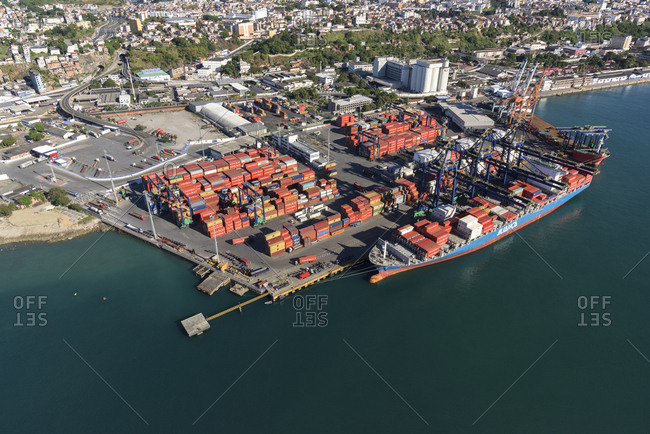 Salvador, Brazil - March 5, 2017: industrial port with containers, Salvador, Brazil