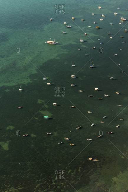 Aerial view of boats in the all saints bay, Salvador da Bahia, Brazil