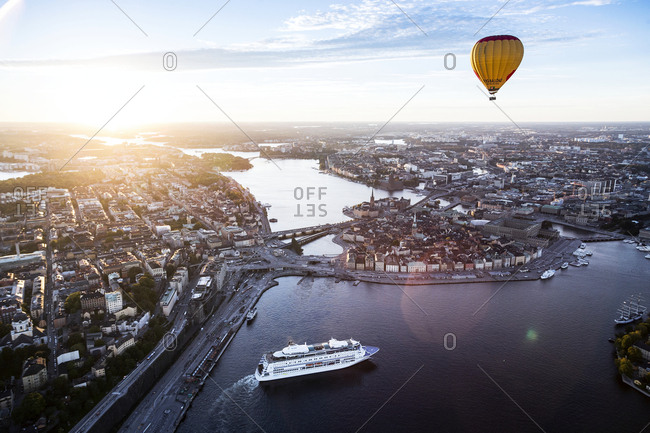 Stockholm, Sweden - September 29, 2015: Ariel view of a hot air balloon floating above the city