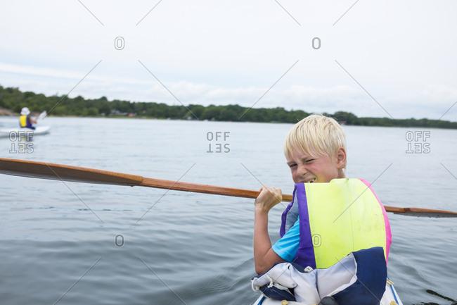 Boy on kayak
