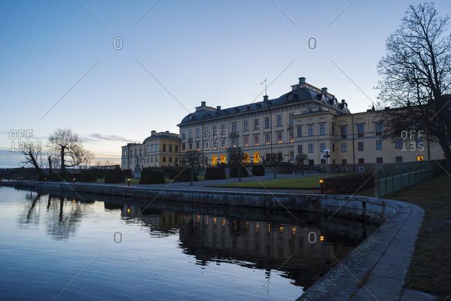 Drottningholm palace at dusk, Sweden