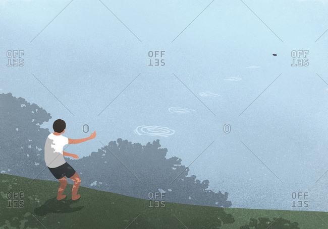 illustration of a boy skipping stones