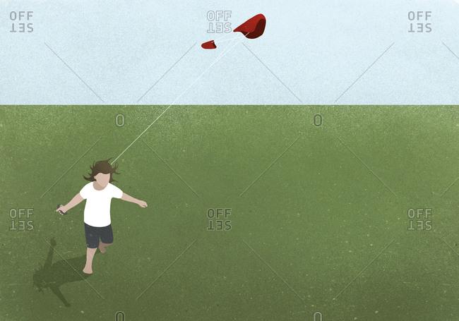 Illustration of a girl flying a kite
