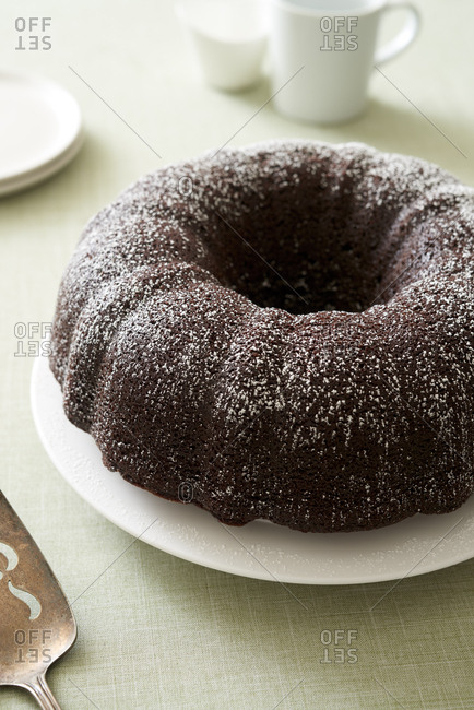 Chocolate bundt cake on plate