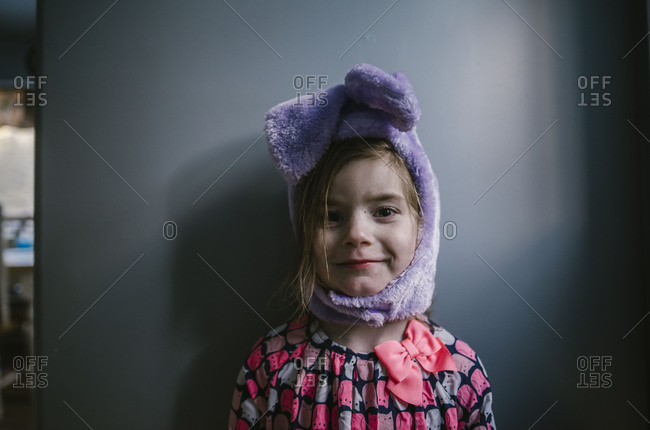 Girl in fuzzy bunny ear hat