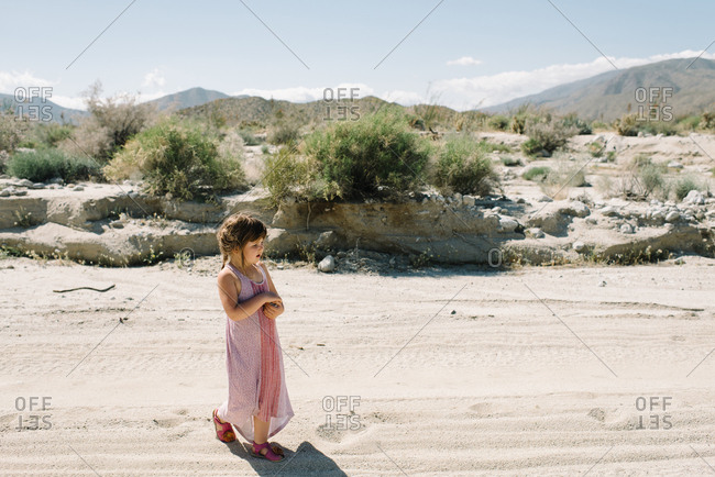 Girl walking around California desert