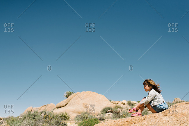 Girl sitting in Joshua Tree National Park
