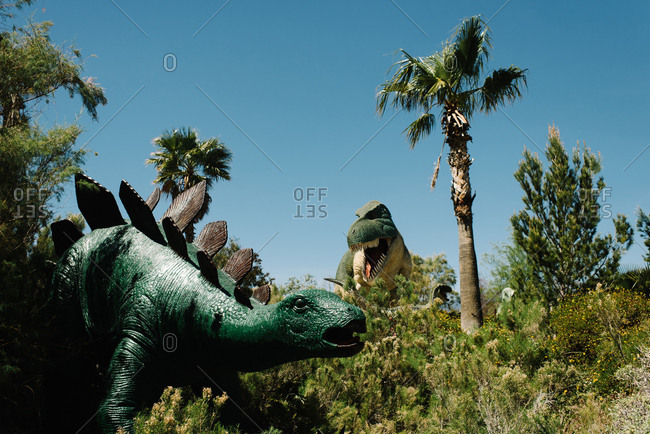 Cabazon, California - March 29, 2017: Dinosaurs at roadside attraction