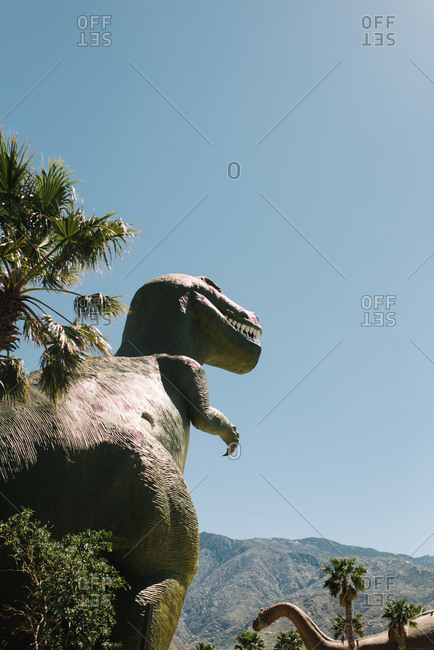 Cabazon, California - March 29, 2017: Dinosaur statues at roadside attraction