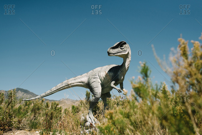 Cabazon, California - March 29, 2017: Dinosaur statue at a roadside attraction