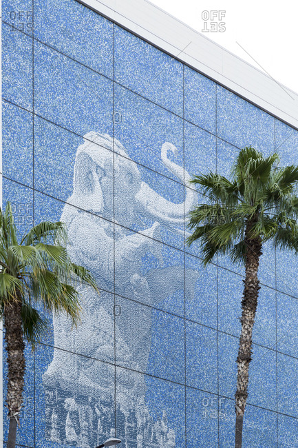 Los Angeles, California, USA - April 26, 2017: Elephant mosaic tile design on side of building in Los Angeles, California