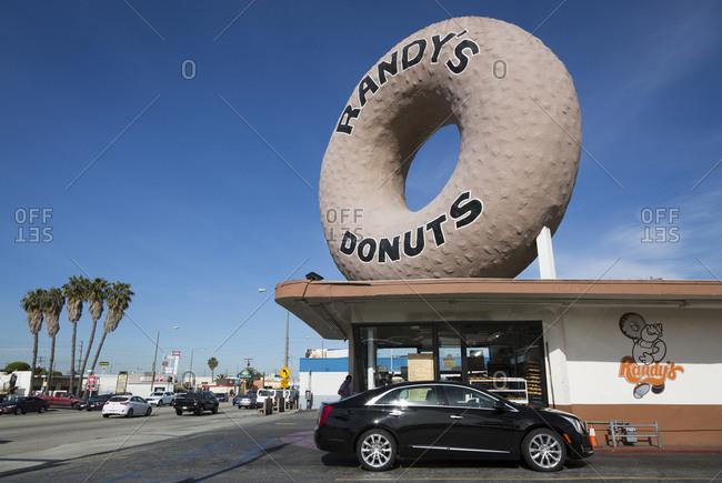 Los Angeles, California, USA - April 26, 2017: Randy's Doughnuts in Los Angeles, California