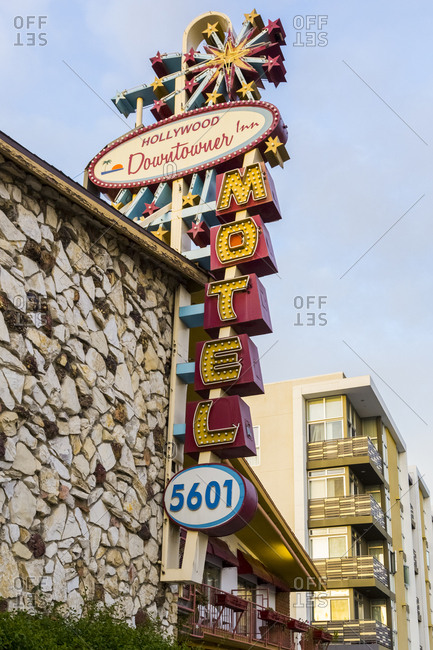 Los Angeles, California, USA - April 26, 2017: Hollywood Downtowner Inn Motel in Los Angeles, California