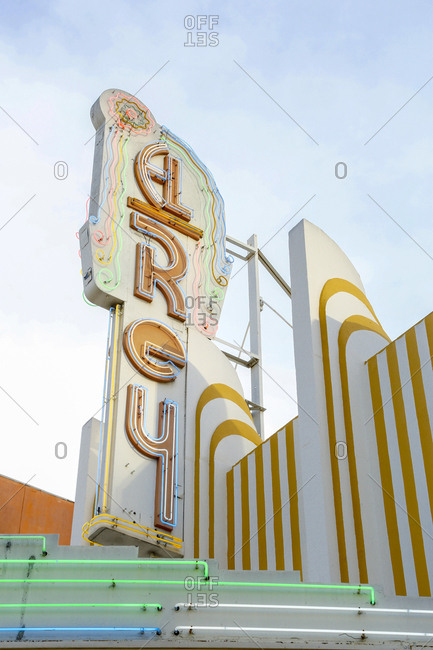 Los Angeles, California, USA - April 28, 2017: Neon sign on old theater in Los Angeles, California