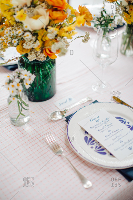 Spring country themed table design with printed menu card