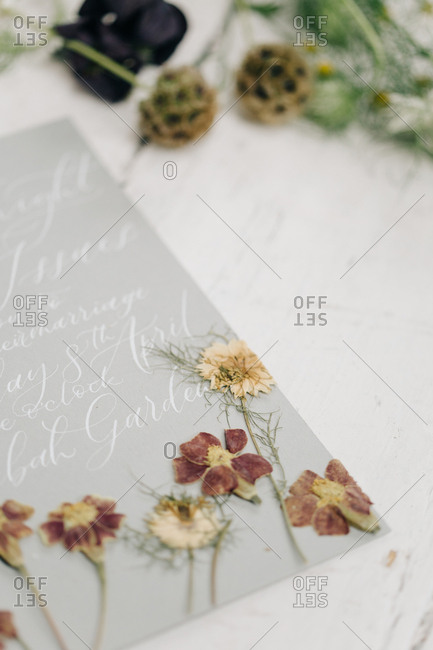 Detail of wedding invitation with pressed flowers