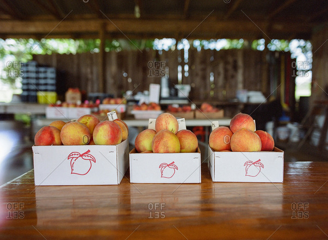 Boxes of fresh peaches at farm stand