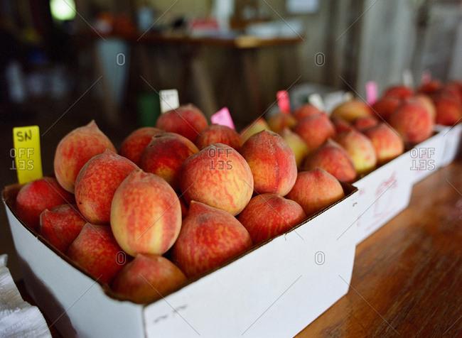 Fresh peaches for sale at a farm stand