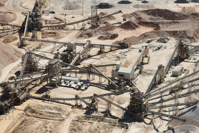 USA- Texas- aerial view of sand mine near San Antonio