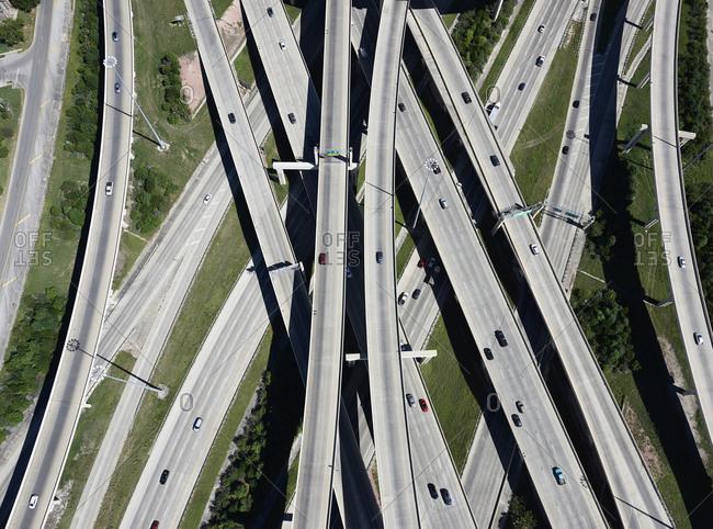 USA- Texas- San Antonio- aerial view of highway interchange
