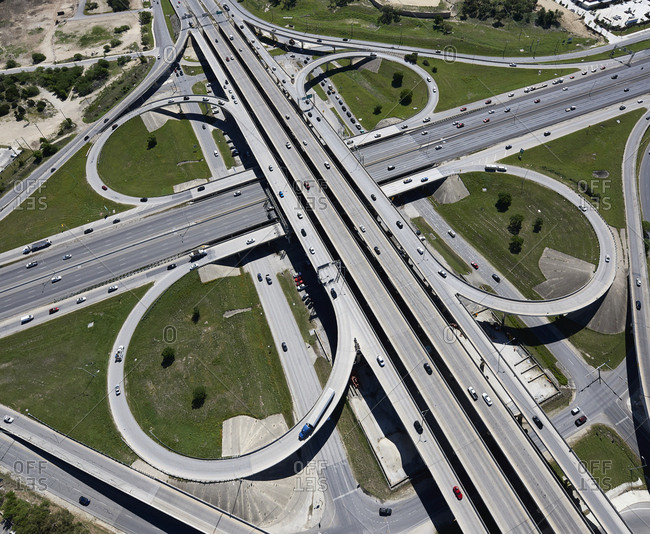 USA- Texas- San Antonio- aerial view of highway interchange