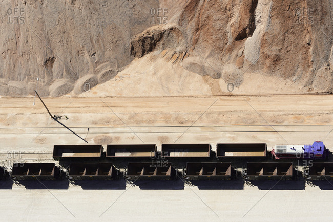 USA- Texas- aerial view of sand mine near San Antonio with unloaded rail cars