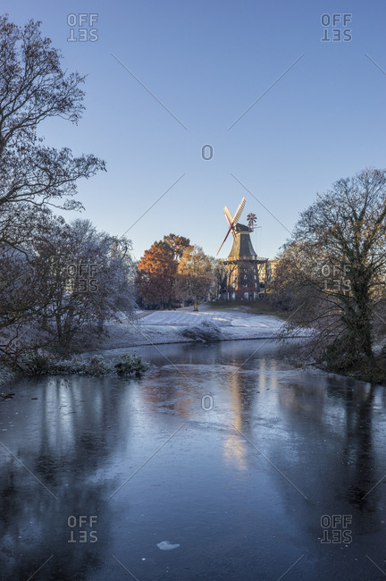 Germany- Bremen- Am Wall Windmill in winter