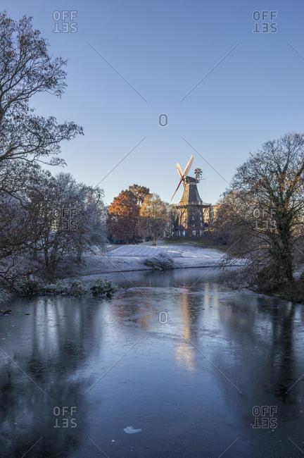 Germany- Bremen- Am Wall Windmill in winter
