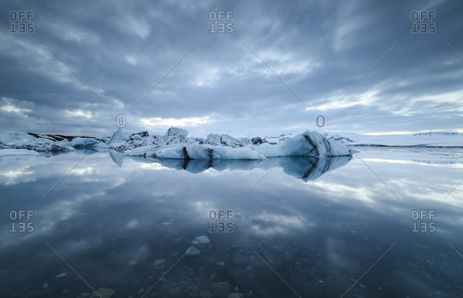 Iceland- Jokulsarlon glacial lake with ice and reflections