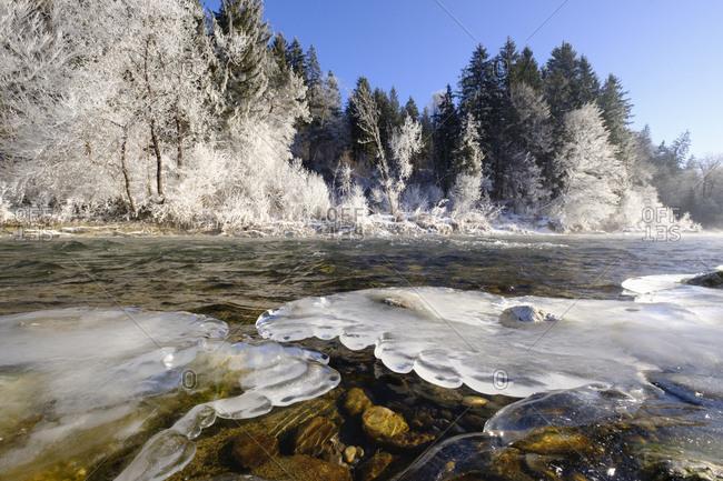 Germany- Bavaria- Geretsried- Isar- frozen riverbank