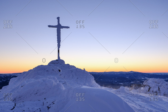 Germany- Bavaria- Bavarian Forest in winter- Great Arber- summit cross in morning