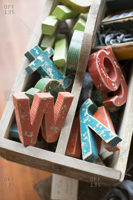 Box of wooden letters