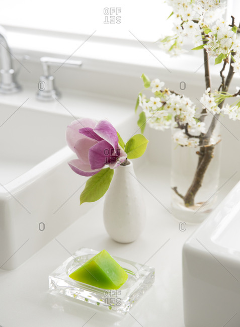 Bathroom soap and floral