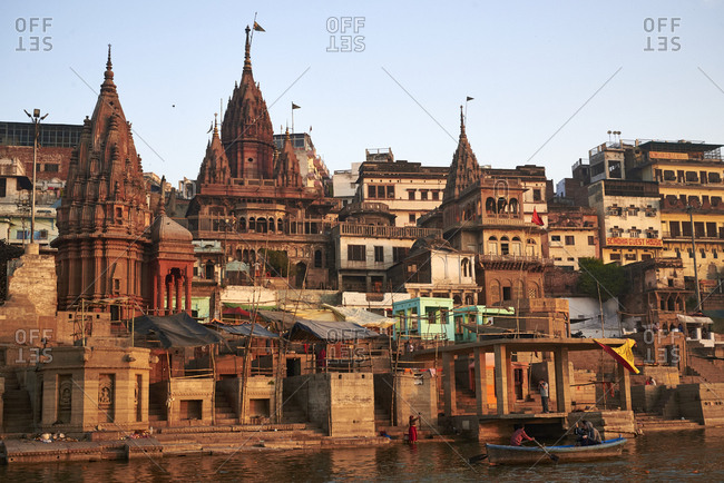 Varanasi, India - March 14, 2017: Architectural look of the Varanasi riverside.