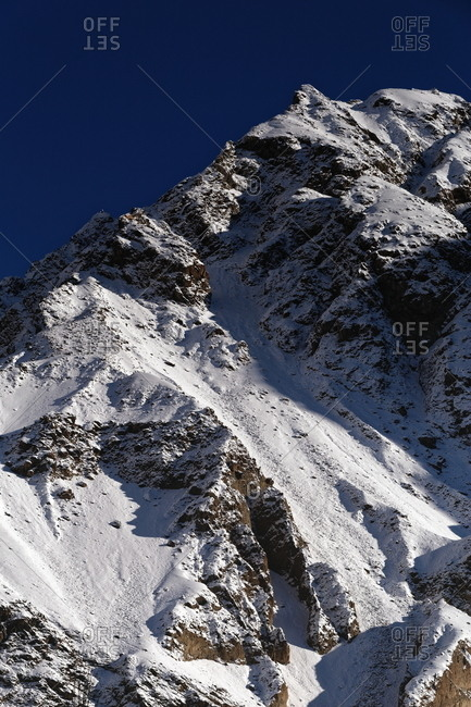 View of steep snowy mountain